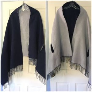J. Crew Reversible Cape Scarf Gray Blue NWT New